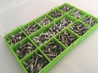 300 Assorted Stainless Steel Pozi Flange Self Tapping Trim Screws Self Tappers