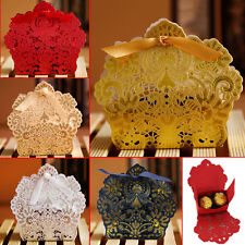 20/50/100X Wedding Party Favor Boxes Lace Laser Cut Sweet Candy Gift With Ribbon