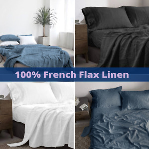Linen Sheet Set - 100% Pure French Flax - Single Double Queen King