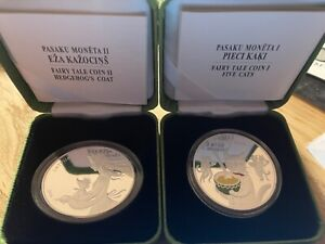 Latvia 5 euro silver proof coins 2015 and 2016 Fairytales I and II, RARE!