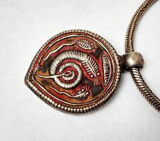 Ancien Talisman de protection et sa chaîne en argent serpent Nâga Inde 19e