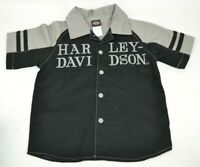 Harley Davidson Button Up Short Sleeve Shirt Boys Toddler Size 4 Black Gray