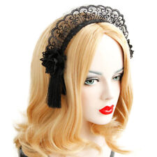 Women Headband Gothic Lace Flower Tassel Maid Cosplay Costume Ball Hairband Hoop