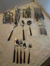 Mid-century Flatware 54 pc set WOODWIND stainless Steel Japan Danish New Old NOS