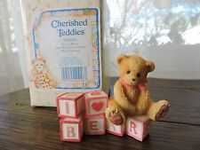 "Cherished Teddies ""I Love Bears"" w/ Love Letter Blocks Mini Figurine 902950 NIB"