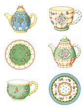 Mary Engelbreit Green Tea Set Cup Saucer Pot TeaPots 25 Wallies Stickers Decals