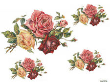VinTaGe IMaGe XL ShaBby TriPLe RoSeS BouQueT WaTerSLiDe DeCALs *FuRNiTuRe SiZe*