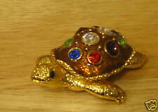 "Jeweled Trinket Box #98911B TURTLE, 1""  NEW/box From our Retail Store, pewter"
