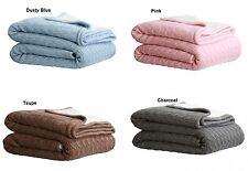 Cable Knit Sherpa Acrylic Sofa Lounge Throw Rug Blanket - 4 Colour Choice