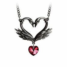 Alchemy Gothic The Black Swan Romance red Swarovski Crystal Heart Pewter Pendant