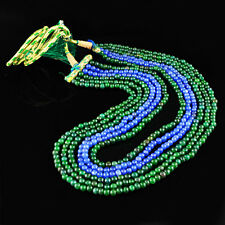 582.00 CTS EARTH MINED 6 LINE GREEN EMERALD & BLUE SAPPHIRE ROUND BEADS NECKLACE