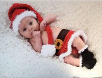 Newborn Baby Santa Girls Crochet Knit Costume Photo Photography Prop Outfits