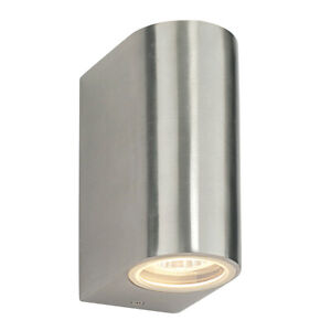 Saxby Doron Up & Down Outdoor Wall Light IP44 LED Brushed Alloy Dimmable 13915