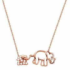 1/4 Ct Natural White Topaz Duo Elephant Necklace With Diamonds 10k Rose Gold