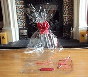 Clear Cellophane Hamper Basket Bag 55cm x 70cm & Pull Bow Red