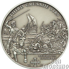 3rd Crusade - RICHARD THE LIONHEART Antique Finish Silver Coin 2010 Cook Islands