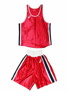 asics Boxing Shirt and pants  Red / Blue BTO for amateur Competition from JAPAN