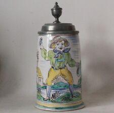 Antique Early German/Austrian Faience Beer Stein - Gmunden c.1860s