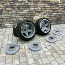 """1/24 Scale 3D Printed 20"""" Staggered Depth Five Star Wheels w/ Tires & Brakes"""