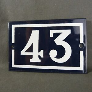 French Vintage Blue Enamel Metal Street Number n°43 Door House Plaque