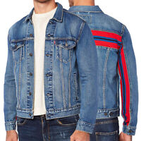 Levi's Men's Unibasic Icon Trucker Denim Red Stripe Jean Jacket