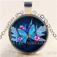 Blue Butterfly Photo Cabochon Glass Tibet Silver Chain Pendant Necklace