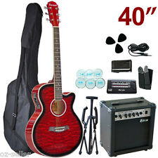 40-inch Red Cutaway Electric Acoustic Guitar With Tripod Tuner Belt Bag Pick