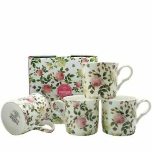 New Heritage Butterfly Rose Mug Set of 4 Fine Bone China 350ml Boxed Coffee Cups
