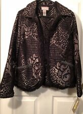 NEW NWT TanJay Reversible Jacket Womens Size 12 Metallic Silver & Black Tapestry
