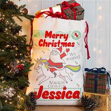 Personalised Unicorn Christmas Sack Santa Magical Girls Xmas Bag Present NS047