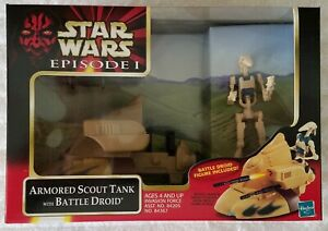 STAR WARS EPISODE I ARMORED SCOUT TANK AND BATTLE DROID VEHICLE & ACTION FIGURE