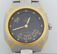 Vintage 18k Gold SS Omega Seamaster Digital Analog Multi-Function Mens Watch
