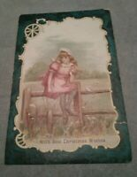 VTG With Best Christmas Wishes Greeting Card Girl on Fence Victorian