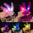 Women Flashing Light Up LED Mask Masquerade Party Princess Feather Mask Party#