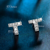 18K WHITE GOLD GF MADE WITH SWAROVSKI CRYSTAL EARRING LETTER T STUD