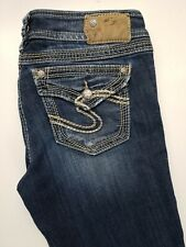 Sliver Suki Bootcut Stretch Thick Stitch Distressed Womens Jeans Size 27 x 34