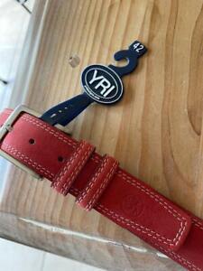 "YRI Red Genuine Leather Embossed Seminole Logo Men's Belt Waist 42"" NWT. $125"
