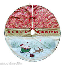 "Christmas Tree Skirt Decoration Painted Santa Design -  41"" Red & Gold Mat"