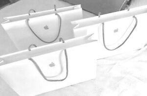 APPLE Store White Paper Shopping / Gift Bags w Handles & Apple Logo