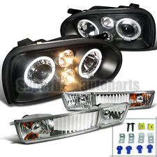 1993-1998 VW Golf MK3 Halo Projector Headlights Black+Bumper Fog Lamps Clear
