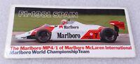 Vintage Sticker 1981 ✱ MARLBORO & SPAIN GRAND PRIX F1 ✱ Cigarettes Advertising