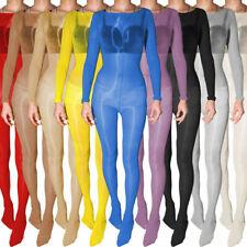 Unisex Ultra shiny Bodystocking Long Sleeve Catsuit Sheer Nylon Jumpsuits Men
