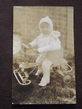 YOUNG TODDLER IN RIDING TOY / SCOOTER - VTG  REAL PHOTO POSTCARD