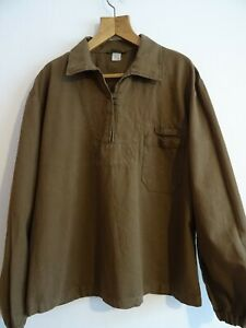Vintage brown HBT cotton army pullover mariner shirt overhead smock