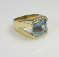 Estate Vintage Moderne 4.91 Carat Brilliant Blue Aquamarine 18K Yellow Gold Ring