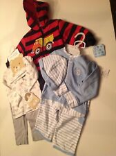 2 NEW 3 PC BABY BOY OUTFITS & 2 PC WARMUP HOODED JACKET WITH PANTS 6/9 M