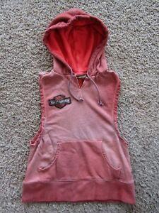 Harley-Davidson Logo Cotton Blend Sleeveless Brown-Red Hoodie Women's Size S