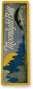 Moonlight Fishing Sign, Bait, Lure, Tackle, Fish, Tin Sign B676