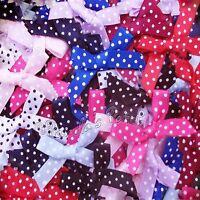 Mini 7mm Polka Dot Satin Ribbon Bows - Choose Your Colour and Pack Size Free P&P