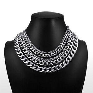 Edelstahl Panzerkette Halskette Armband Damen Herren Silber Gold Schwarz 3-13mm